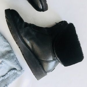 UGG Black Leather Fur Lined Wedge Booties
